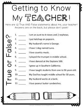 Getting to Know You Activities: EDITABLE True/False Game   TpT